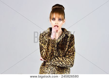Leopard Fur At Stylish Girl. Winter Fashion And Beauty. Look Of Fashion Model With Bad Taste. Fur Co