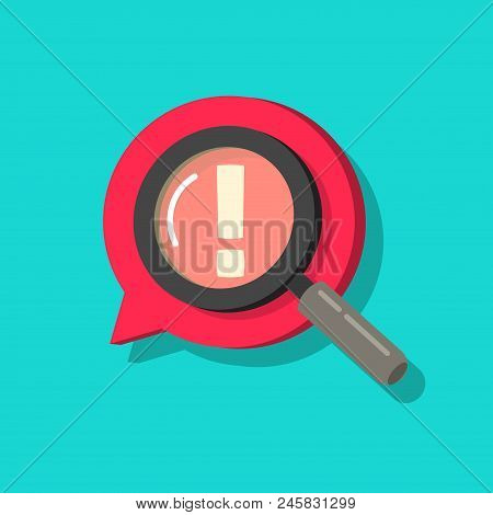 Censored content identifying vector icon, flat cartoon exclamation sign and magnifier glass, concept of chat message alert, adult content comment, angry bad talk searched poster