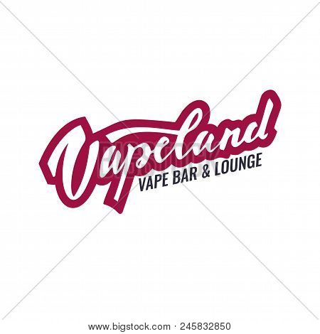Vapeland Lettering Logo For Vape Shop, Bar And Lounge. Can Be Used For Print, Label, Emblem, Badge,