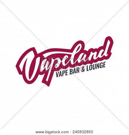 Vapeland Lettering Logo For Vape Shop, Bar And Lounge. Can Be Used For Print, Label, Emblem, Badge,