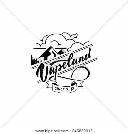 Vapeland Lettering Logo Design. Can Be Used For Print, Label, Emblem, Badge, Tag. Stock Vector