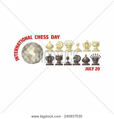 International Chess Day Card. Chess Pieces King, Queen, Bishop, Rook, Pawn, Knife.  Globe And Chessm