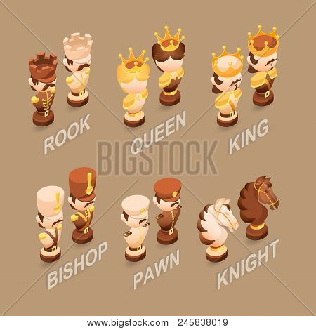 Isometric Cartoon Chess Pieces King, Queen, Bishop, Rook, Pawn, Knife.  Cute Chessman Isolated On Br