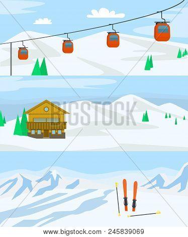 Resort Hotel Winter Banner Horizontal Concept Set. Flat Illustration Of 3 Resort Hotel Winter Vector