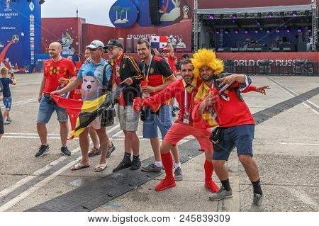 Sochi, Russia - June 18, 2018: Football Fans On The Square.