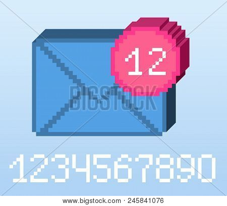 Vector Pixel 8 Bit Blue E-mail Notification With Pink Circle And Digits. 0-9 Digits Set. 3d Shape. S