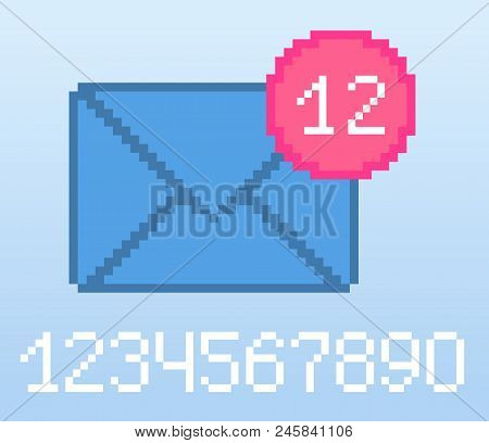 Vector Pixel 8 Bit Blue E-mail Notification With Pink Circle And Digits. 0-9 Digits Set. Social Netw