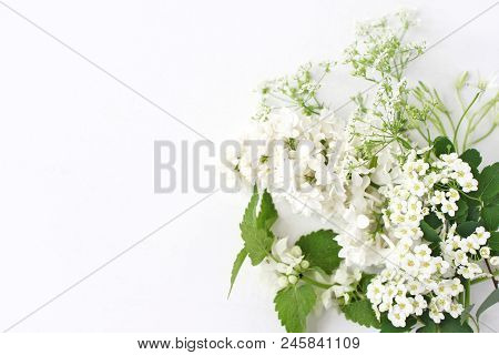 Styled Stock Photo. Decorative Floral Composition. Wild Birthday Bouquet Of Blossoming White Nettle,