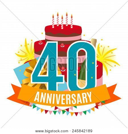 Template 40 Years Anniversary Congratulations, Greeting Card With Cake, Gift Box, Fireworks And Ribb
