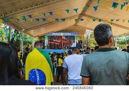 Brazilians At A Free Entrance Event Organized By The Prefecture To Watch The World Cup