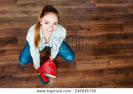 Cleanup housework concept. cleaning woman sweeping wooden floor with red small whisk broom and dustpan unusual high angle view poster