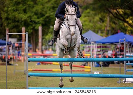 Horse And Rider Competing In Show Jumping In The Ring At A Country Show