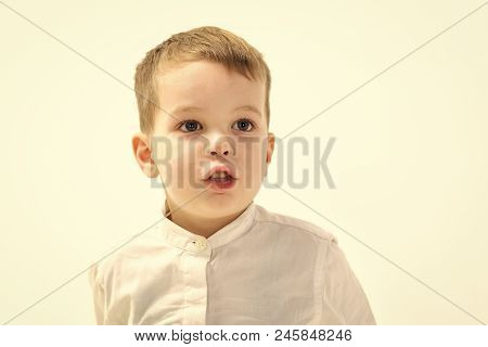 Childhood And Happiness, Little Boy. Little Boy In White Shirt, Business. Child With Happy Face Isol