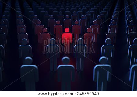 Big Brother Is Watching. A Person Marked Red As A Potential Threat For The Rest Of Society Concept.