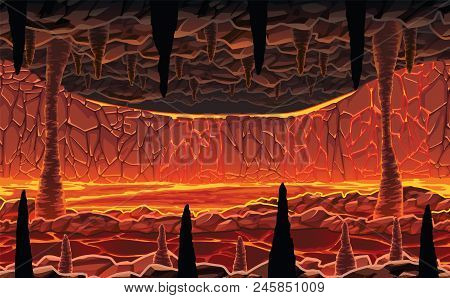 A High Quality Horizontal Seamless Background Of Landscape - Infernal Hot Cave With Lava. Horizontal