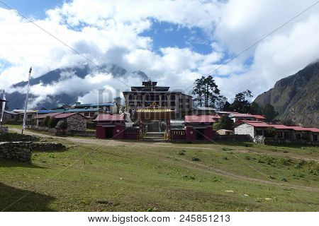 The Tengboche Monastery With Clouds, Everest Base Camp Trek, Nepal
