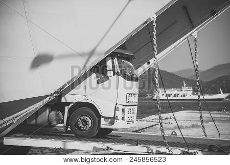 Intercontinental Transport. Argo Van, Truck, Kamion Transports Goods Or Items Between Countries. Int