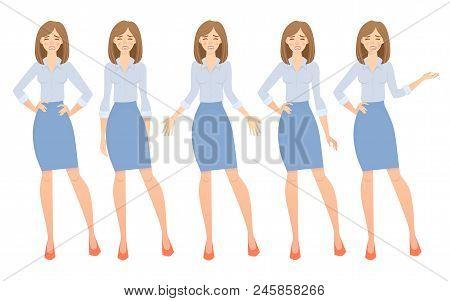 Business Woman Set. Set Of Female Gestures And Postures Illustration.