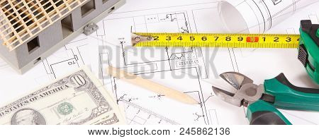 Electrical Construction Drawings Or Diagrams, Work Tools For Engineer Jobs, Small House And Currenci