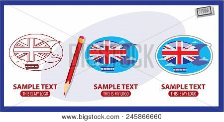 Airship, Logo, Blimp Dirigible England Vector Illustration