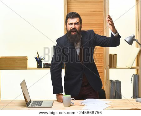 Angry Businessman Screaming. Portrait Of Bearded Businessman. Angry Businessman In Suit. Businessman