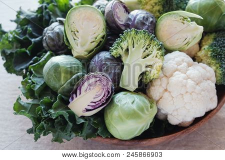 Cruciferous Vegetables, Cauliflower,broccoli, Brussels Sprouts, Kale In Wooden Bowl, Reducing Estrog