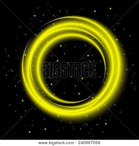 Yellow Light Shining Circle Banner, Stock Vector