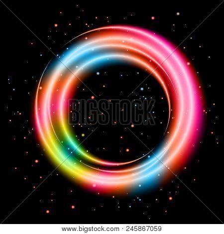Colorful Light Shining Circle Banner, Stock Vector
