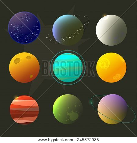 Spase Planets For Design, Fictional Planets, Brignt Space Cartoon Style.