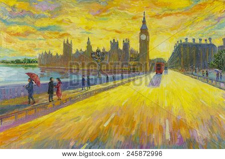 Big Ben Clock- Street View In London Red Bus Traditional Old At England. Oil Painting Landscape Beau