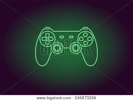 Neon Icon Of Green Joystick. Vector Illustration Of Wireless Gamepad Consisting Of Neon Outlines. Ne