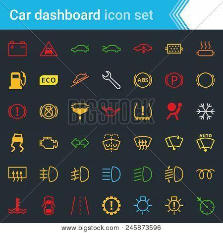 Colorful Car Dashboard Interface And Indicators Icon Set - Service Maintenance Vector Symbols