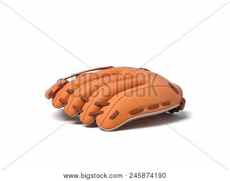 3d Rendering Of A Single Orange Leather Baseball Glove Lying Palm Down On A White Background. Leathe