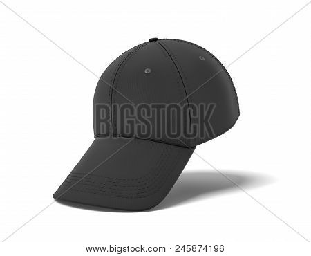 3d Rendering Of A Single Black Baseball Cap Hanging Vertically On A White Background With Its Visor