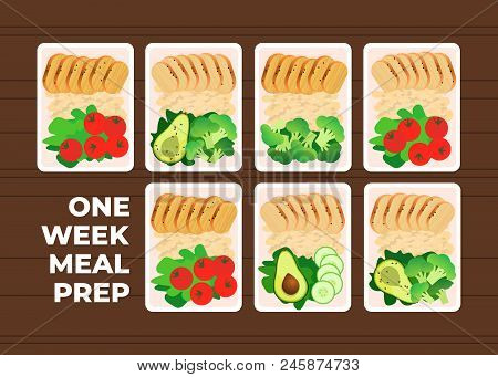 Vector Illustration Of Meal Preparation. Portion Of Food In Container. Healthy Lifestyle Food. Chick
