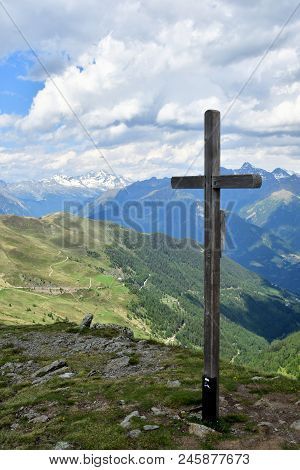 Summit With Summit Cross In The Mountains Of South Tyrol Italy