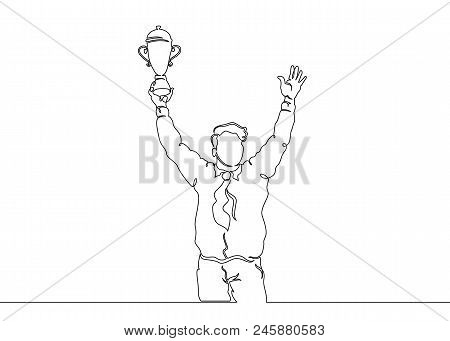 Continuous One Drawn Single Line Winning Cup In The Hands Of The Winner. Concept Cup, Winner, Busine