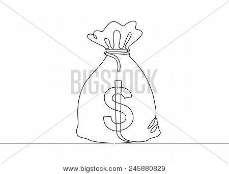 Continuous One Drawn Single Line Money Bag. Concept Of Money Storage, Money, Icon, Bank, Dollar, Bus