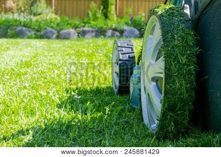 Mowing Lawns. Lawn Mower On Green Grass. Mower Grass Equipment. Mowing Gardener Care Work Tool. Clos