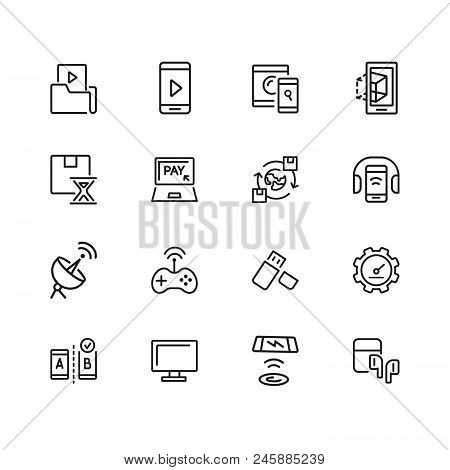 Electronics Icons. Set Of Line Icons. Mobile Phone, Data Storage, Satellite. Modern Technology Conce