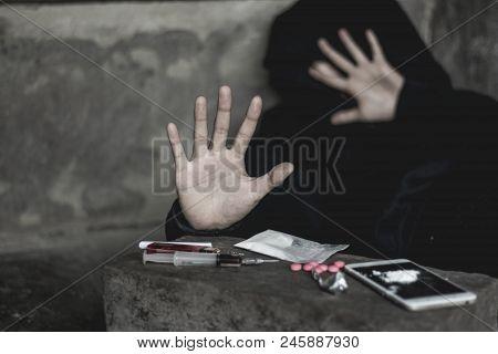 Girl Shows Palms Against Drug Abuse , The Concept Of Crime And Drug Addiction. 26 June, Internationa