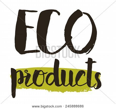 Eco Product Hand Drawn Label Isolated Illustration. Healthy And Lifestyle Vegan Symbol. Eco Product