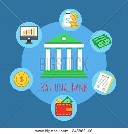 Banking And Finance Concept. Banking System. The Global Financial System. Circulation Of Money. Temp