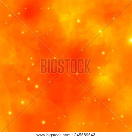 Watercolor Fire Background. Vector Illustration. Special Fantasy Fire Flame Effect With Lights And S