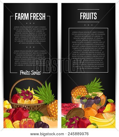 Fresh Organic Fruit Flyers Set Illustration. Natural Product, Juicy Fruit, Healthy Nutrition, Organi