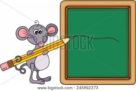 Scalable Vectorial Representing A Cute Mouse Teacher With School Board And Pencil, Element For Desig