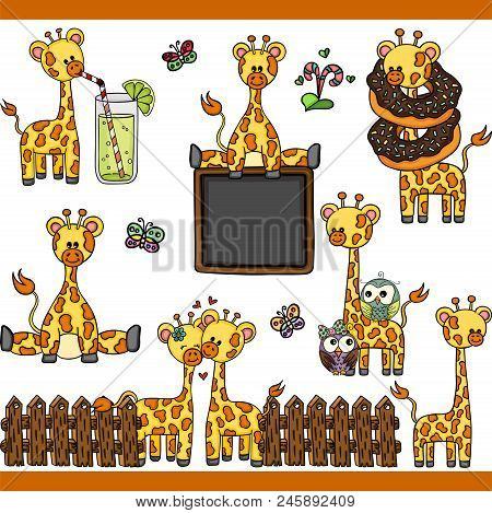 Scalable Vectorial Representing A Giraffe Set Digital Elements, Illustration With Elements For Your