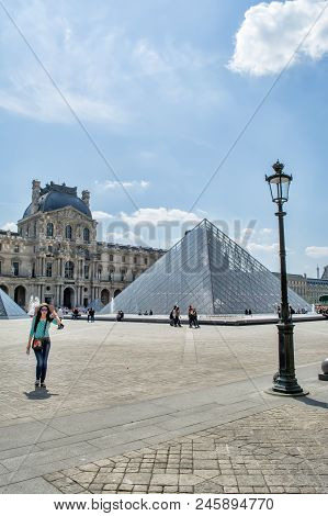 Paris, France, May 26 , 2015: The Louvre Art Museum In Paris. The History Of This Most Famous Museum