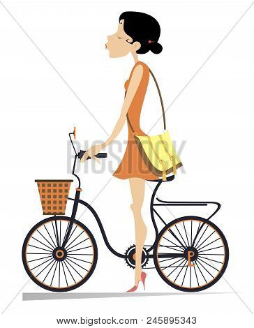 Pretty Young Woman Riding With The Bicycle Isolated Illustration. Young Woman In The Red Dress And A