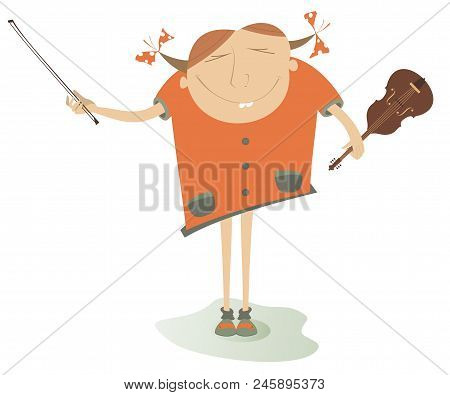 Cartoon Girl A Violinist Isolated Illustration. Smiling Young Woman With A Violin And Fiddlestick Is